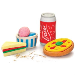 Lunchtime Food Erasers - Novelty Rubbers (Soda Can, Pizza, Sandwich & Ice Cream) Set of 4
